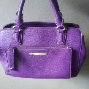 Nine West Purple Leather Handbag Purse